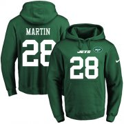 Wholesale Cheap Nike Jets #28 Curtis Martin Green Name & Number Pullover NFL Hoodie