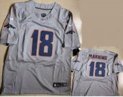 Wholesale Cheap Nike Broncos #18 Peyton Manning New Grey Shadow Men's Stitched NFL Elite Jersey