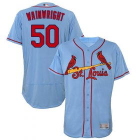 Wholesale Cheap Cardinals #50 Adam Wainwright Light Blue Flexbase Authentic Collection Stitched MLB Jersey