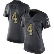 Wholesale Cheap Nike Cowboys #4 Dak Prescott Black Women's Stitched NFL Limited 2016 Salute to Service Jersey