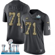 Wholesale Cheap Nike Eagles #71 Jason Peters Black Super Bowl LII Men's Stitched NFL Limited 2016 Salute To Service Jersey