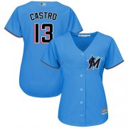 Wholesale Cheap Marlins #13 Starlin Castro Blue Alternate Women's Stitched MLB Jersey