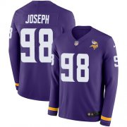 Wholesale Cheap Nike Vikings #98 Linval Joseph Purple Team Color Men's Stitched NFL Limited Therma Long Sleeve Jersey