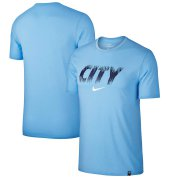 Wholesale Cheap Manchester City Nike Preseason Performance T-Shirt Light Blue