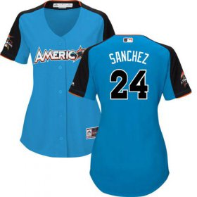 Wholesale Cheap Yankees #24 Gary Sanchez Blue 2017 All-Star American League Women\'s Stitched MLB Jersey