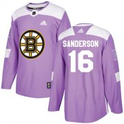 Wholesale Cheap Adidas Bruins #16 Derek Sanderson Purple Authentic Fights Cancer Stitched NHL Jersey