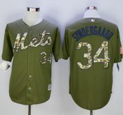 Wholesale Cheap Mets #34 Noah Syndergaard Green Camo New Cool Base Stitched MLB Jersey