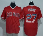 Wholesale Cheap Angels of Anaheim #27 Mike Trout Red USA Flag Fashion Stitched MLB Jersey