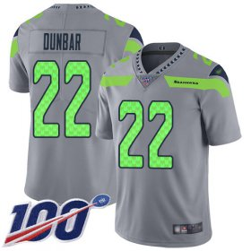 Wholesale Cheap Nike Seahawks #22 Quinton Dunbar Gray Youth Stitched NFL Limited Inverted Legend 100th Season Jersey
