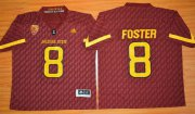 Wholesale Cheap Men's Arizona State Sun Devils #8 D.J. Foster Red Desert Ice 2015 College Football Jersey