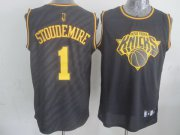 Wholesale Cheap New York Knicks #1 Amare Stoudemire Revolution 30 Swingman 2014 Black With Gold Jersey