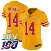 Wholesale Cheap Nike Chiefs #14 Sammy Watkins Gold Super Bowl LIV 2020 Women's Stitched NFL Limited Inverted Legend 100th Season Jersey