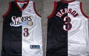 Wholesale Cheap Philadelphia 76ers #3 Allen Iverson Black/White Two Tone Jersey