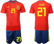 Wholesale Cheap Spain #21 Silva Home Soccer Country Jersey