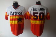 Wholesale Mitchell and Ness Astros #50 J.R. Richard White/Orange Stitched Throwback Baseball Jersey