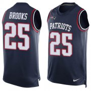 Wholesale Cheap Nike Patriots #25 Terrence Brooks Navy Blue Team Color Men's Stitched NFL Limited Tank Top Jersey