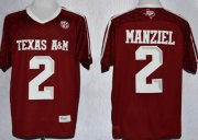 Wholesale Cheap Texas A&M Aggies #2 Johnny Manziel 2013 Red Jersey