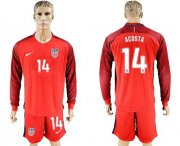 Wholesale Cheap USA #14 Acosta Away Long Sleeves Soccer Country Jersey