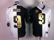 Wholesale Cheap Nike Saints #9 Drew Brees White/Black Men's Stitched NFL Elite Split Jersey