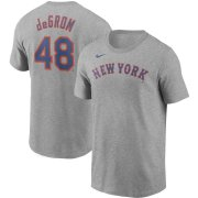 Wholesale Cheap New York Mets #48 Jacob deGrom Nike Name & Number T-Shirt Gray