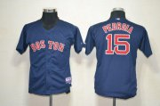Wholesale Cheap Red Sox #15 Dustin Pedroia Dark Blue Cool Base Stitched Youth MLB Jersey