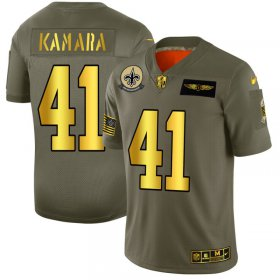 Wholesale Cheap New Orleans Saints #41 Alvin Kamara NFL Men\'s Nike Olive Gold 2019 Salute to Service Limited Jersey