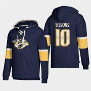 Wholesale Cheap Nashville Predators #10 Colton Sissons Navy adidas Lace-Up Pullover Hoodie