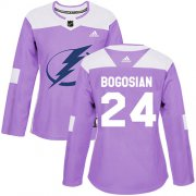 Cheap Adidas Lightning #24 Zach Bogosian Purple Authentic Fights Cancer Women's Stitched NHL Jersey