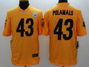 Wholesale Nike Steelers #43 Troy Polamalu Gold Men's Stitched NFL Limited Jersey
