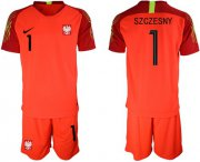 Wholesale Cheap Poland #1 Szczesny Red Goalkeeper Soccer Country Jersey