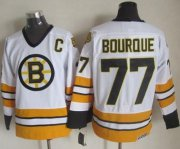 Wholesale Cheap Bruins #77 Ray Bourque White/Yellow CCM Throwback Stitched NHL Jersey