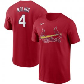 Wholesale Cheap St. Louis Cardinals #4 Yadier Molina Nike Name & Number T-Shirt Red