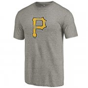 Wholesale Cheap Men's Pittsburgh Pirates Ash Distressed Team Tri-Blend T-Shirt
