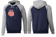 Wholesale Cheap Olympic Team USA Pullover Hoodie Dark Blue & Grey