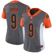 Wholesale Cheap Nike Bengals #9 Joe Burrow Silver Women's Stitched NFL Limited Inverted Legend Jersey