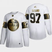 Wholesale Cheap Edmonton Oilers #97 Connor McDavid Men's Adidas White Golden Edition Limited Stitched NHL Jersey