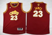 Wholesale Cheap Men's Cleveland Cavaliers #23 LeBron James Red Throwback 2017 The NBA Finals Patch Jersey