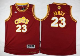 Wholesale Cheap Men\'s Cleveland Cavaliers #23 LeBron James Red Throwback 2017 The NBA Finals Patch Jersey