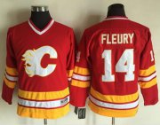 Wholesale Cheap Flames #14 Theoren Fleury Red CCM Throwback Stitched Youth NHL Jersey