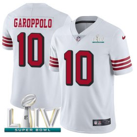 Wholesale Cheap Nike 49ers #10 Jimmy Garoppolo White Super Bowl LIV 2020 Rush Men\'s Stitched NFL Vapor Untouchable Limited Jersey