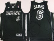 Wholesale Cheap Miami Heat #6 LeBron James Revolution 30 Swingman All Black With White Jersey