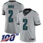 Wholesale Cheap Nike Eagles #2 Jalen Hurts Silver Youth Stitched NFL Limited Inverted Legend 100th Season Jersey