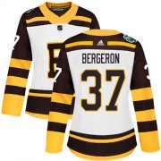 Wholesale Cheap Adidas Bruins #37 Patrice Bergeron White Authentic 2019 Winter Classic Women's Stitched NHL Jersey