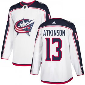 Wholesale Cheap Adidas Blue Jackets #13 Cam Atkinson White Road Authentic Stitched Youth NHL Jersey