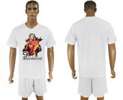 Wholesale Cheap Manchester United Blank White Soccer Club T-Shirt_1