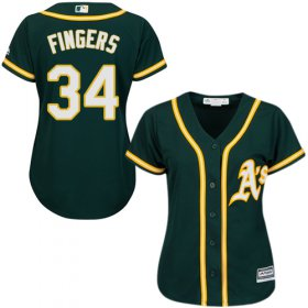 Wholesale Cheap Athletics #34 Rollie Fingers Green Alternate Women\'s Stitched MLB Jersey