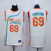 Wholesale Cheap Flint Tropics 69 Downtown White Semi Pro Movie Stitched Basketball Jersey