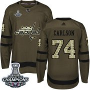 Wholesale Cheap Adidas Capitals #74 John Carlson Green Salute to Service Stanley Cup Final Champions Stitched NHL Jersey