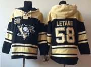 Wholesale Cheap Penguins #58 Kris Letang Black Sawyer Hooded Sweatshirt Stitched NHL Jersey