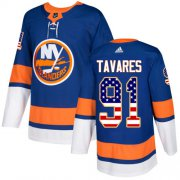 Wholesale Cheap Adidas Islanders #91 John Tavares Royal Blue Home Authentic USA Flag Stitched NHL Jersey
